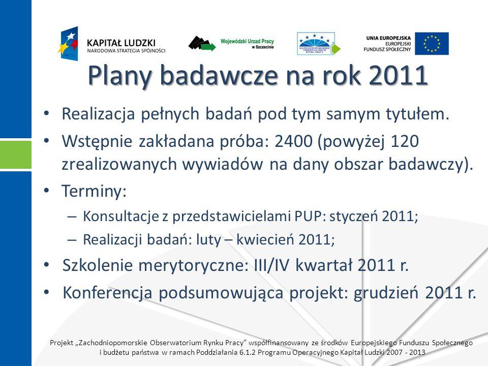 """Projekt """"Zachodniopomorskie Obserwatorium Rynku Pracy współfinansowany ze środków Europejskiego Funduszu Społecznego i budżetu państwa w ramach Poddziałania 6.1.2 Programu Operacyjnego Kapitał Ludzki 2007 - 2013 Plany badawcze na rok 2011 Realizacja pełnych badań pod tym samym tytułem."""