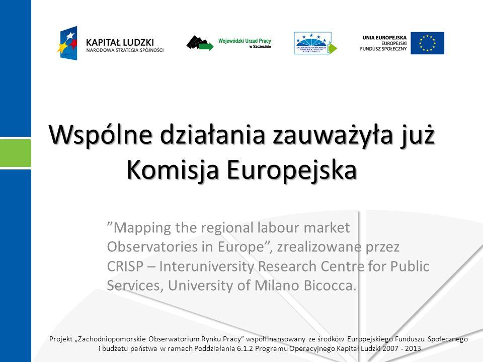 """Projekt """"Zachodniopomorskie Obserwatorium Rynku Pracy współfinansowany ze środków Europejskiego Funduszu Społecznego i budżetu państwa w ramach Poddziałania 6.1.2 Programu Operacyjnego Kapitał Ludzki 2007 - 2013 Wspólne działania zauważyła już Komisja Europejska Mapping the regional labour market Observatories in Europe , zrealizowane przez CRISP – Interuniversity Research Centre for Public Services, University of Milano Bicocca."""