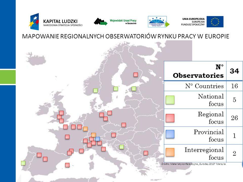 """Projekt """"Zachodniopomorskie Obserwatorium Rynku Pracy współfinansowany ze środków Europejskiego Funduszu Społecznego i budżetu państwa w ramach Poddziałania 6.1.2 Programu Operacyjnego Kapitał Ludzki 2007 - 2013 MAPOWANIE REGIONALNYCH OBSERWATORIÓW RYNKU PRACY W EUROPIE Źródło: Materiały konferencyjne """"Euroday 2010 Marsylia"""
