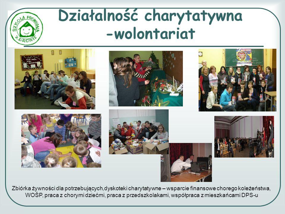 Działalność charytatywna -wolontariat Zbiórka żywności dla potrzebujących,dyskoteki charytatywne – wsparcie finansowe chorego koleżeństwa, WOŚP, praca