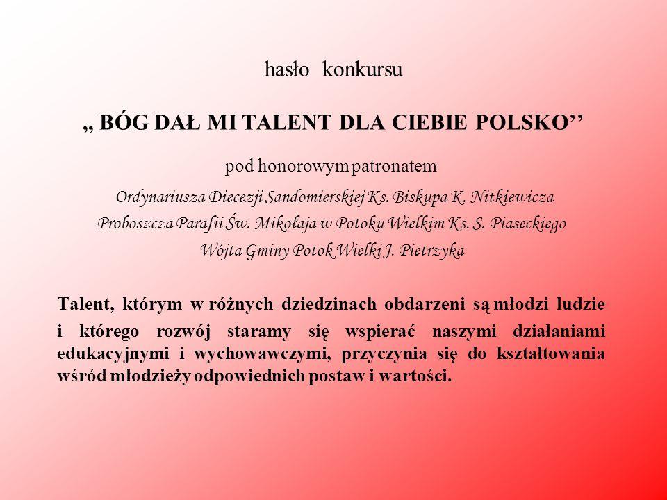 hasło konkursu,, BÓG DAŁ MI TALENT DLA CIEBIE POLSKO'' pod honorowym patronatem Ordynariusza Diecezji Sandomierskiej Ks. Biskupa K. Nitkiewicza Probos