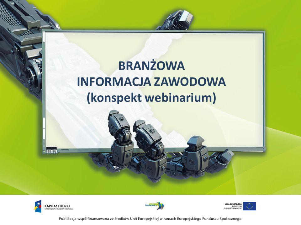Cele webinarium Przygotowanie merytoryczne i metodyczne do świadczenia usług w ramach systemu informacji branżowej (w tym m.in.): 1)Wyposażenie w podstawowe kompendium wiedzy 2)Wykształcenie umiejętności praktycznych związanych z tworzeniem, aktualizowaniem i wykorzystaniem zasobów systemu informacji branżowej 3)Zainspirowanie do samokształcenia