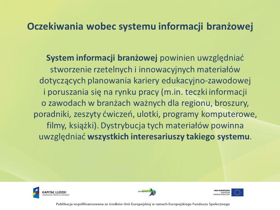 Oczekiwania wobec systemu informacji branżowej System informacji branżowej powinien uwzględniać stworzenie rzetelnych i innowacyjnych materiałów dotyczących planowania kariery edukacyjno-zawodowej i poruszania się na rynku pracy (m.in.
