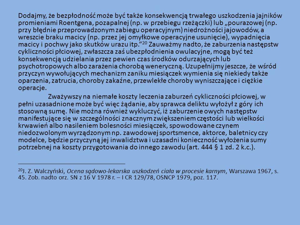 Dodajmy, że bezpłodność może być także konsekwencją trwałego uszkodzenia jajników promieniami Roentgena, pozapalnej (np.