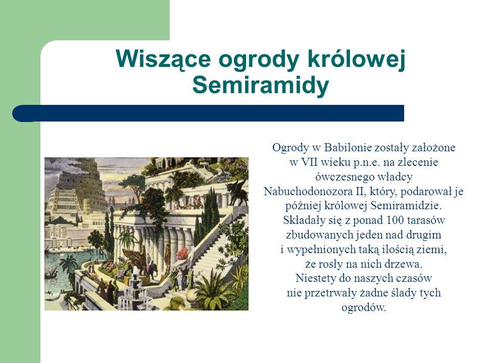 Wiszące ogrody królowej Semiramidy Ogrody w Babilonie zostały założone w VII wieku p.n.e. na zlecenie ówczesnego władcy Nabuchodonozora II, który, pod