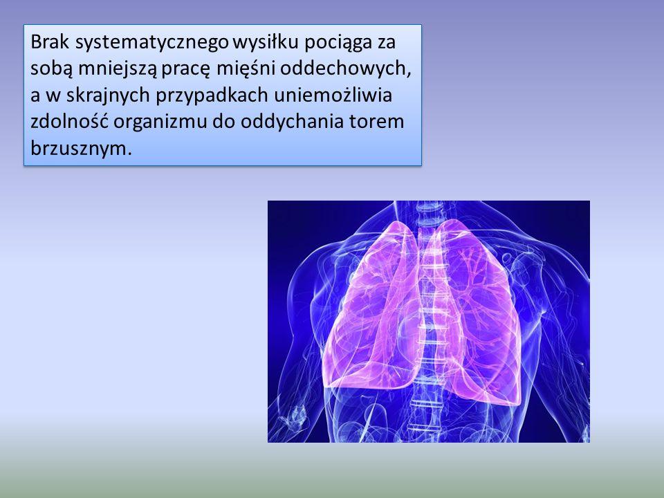 Brak systematycznego wysiłku pociąga za sobą mniejszą pracę mięśni oddechowych, a w skrajnych przypadkach uniemożliwia zdolność organizmu do oddychania torem brzusznym.