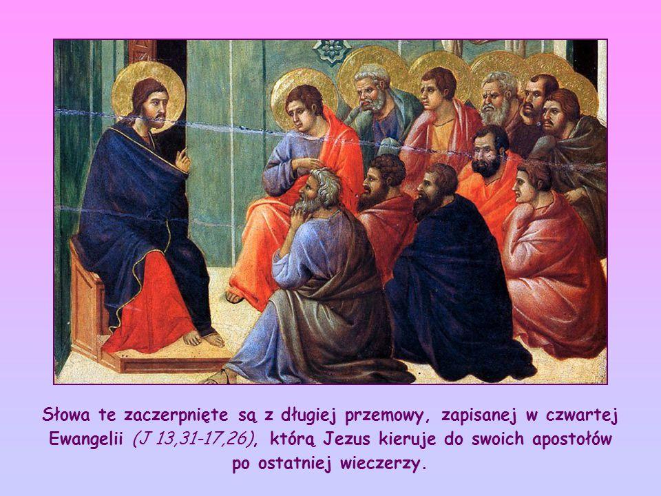 Słowa te zaczerpnięte są z długiej przemowy, zapisanej w czwartej Ewangelii (J 13,31-17,26), którą Jezus kieruje do swoich apostołów po ostatniej wieczerzy.