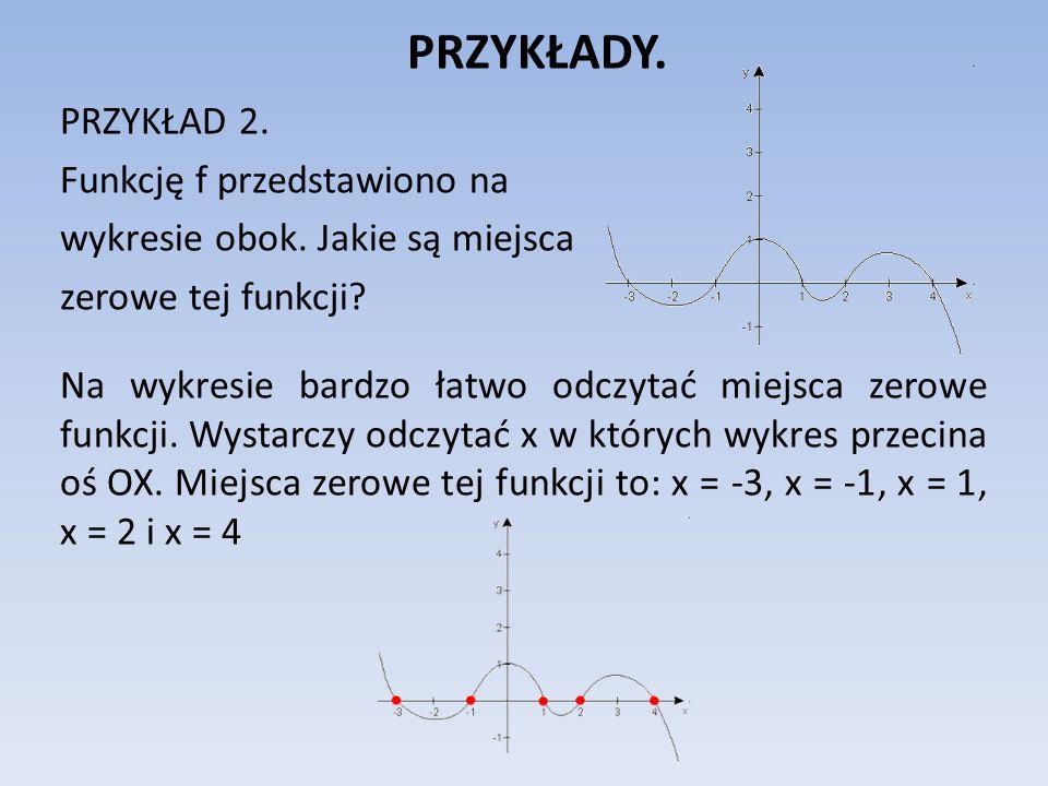PRZYKŁADY.PRZYKŁAD 2. Funkcję f przedstawiono na wykresie obok.