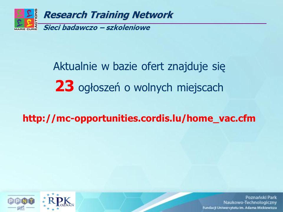 Research Training Network Research Training Network Sieci badawczo – szkoleniowe Aktualnie w bazie ofert znajduje się 23 ogłoszeń o wolnych miejscach http://mc-opportunities.cordis.lu/home_vac.cfm