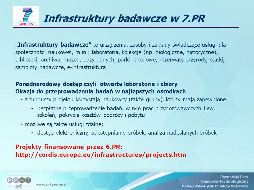 """Infrastruktury badawcze w 7.PR """"Infrastruktury badawcze to urządzenia, zasoby i zakłady świadczące usługi dla społeczności naukowej, m.in.: laboratoria, kolekcje (np."""