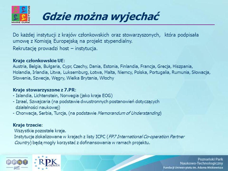 Stypendia Marie Curie 6.i 7. PR Oferta dla młodych naukowców Stypendia Marie Curie 6.