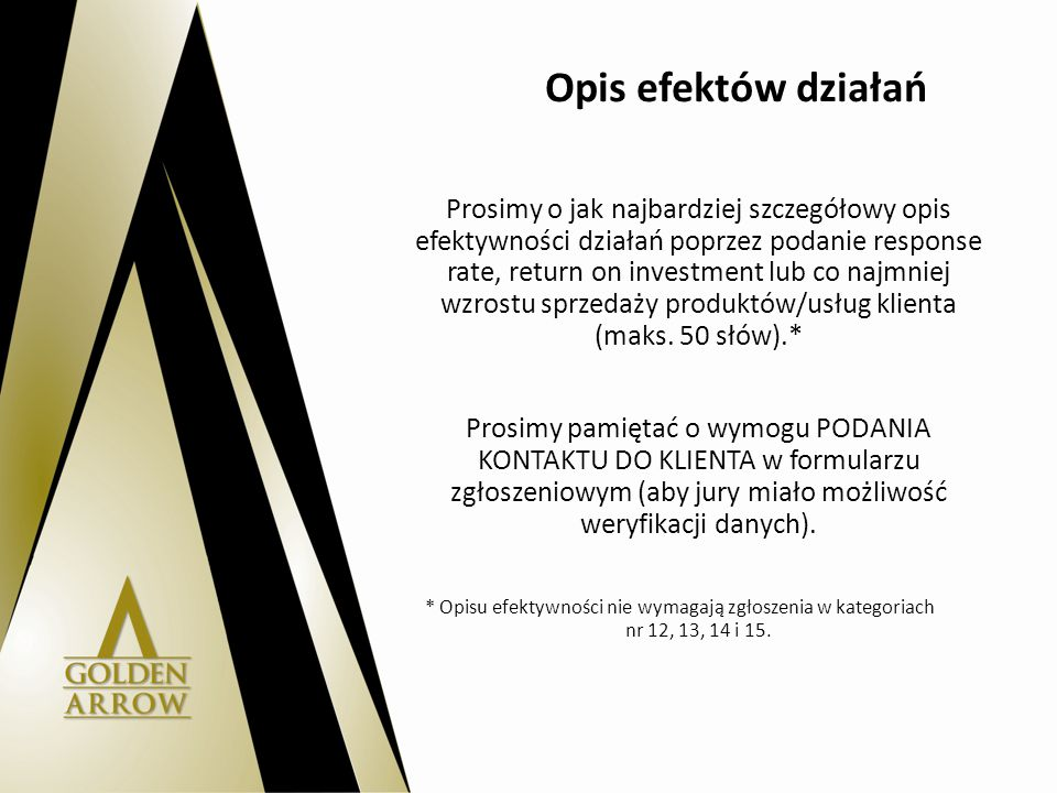 Opis efektów działań Prosimy o jak najbardziej szczegółowy opis efektywności działań poprzez podanie response rate, return on investment lub co najmniej wzrostu sprzedaży produktów/usług klienta (maks.