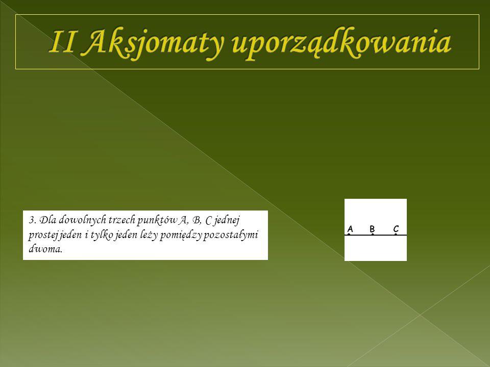 3. Dla dowolnych trzech punktów A, B, C jednej prostej jeden i tylko jeden leży pomiędzy pozostałymi dwoma.