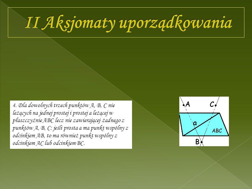 4. Dla dowolnych trzech punktów A, B, C nie leżących na jednej prostej i prostej a leżącej w płaszczyźnie ABC lecz nie zawierającej żadnego z punktów