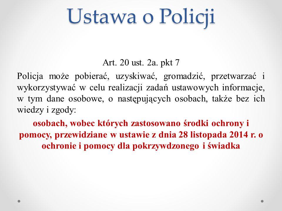 Ustawa o Policji Art. 20 ust. 2a. pkt 7 Policja może pobierać, uzyskiwać, gromadzić, przetwarzać i wykorzystywać w celu realizacji zadań ustawowych in