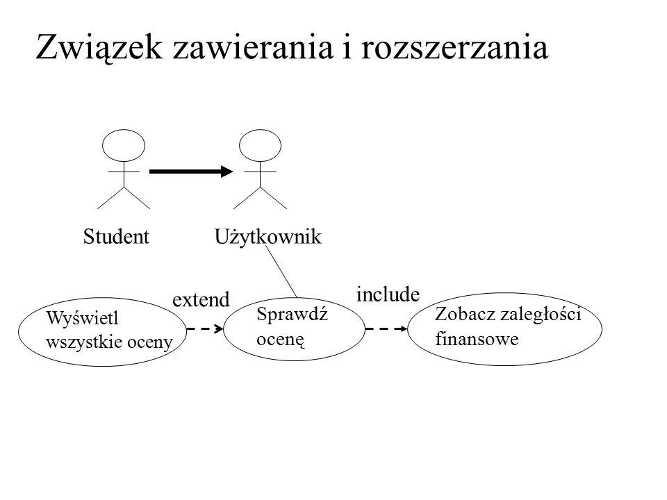 StudentUżytkownik Związek zawierania i rozszerzania Sprawdź ocenę Zobacz zaległości finansowe Wyświetl wszystkie oceny extend include