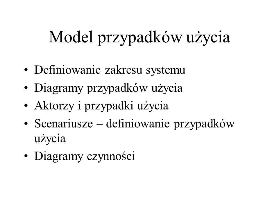 Model przypadków użycia Definiowanie zakresu systemu Diagramy przypadków użycia Aktorzy i przypadki użycia Scenariusze – definiowanie przypadków użycia Diagramy czynności