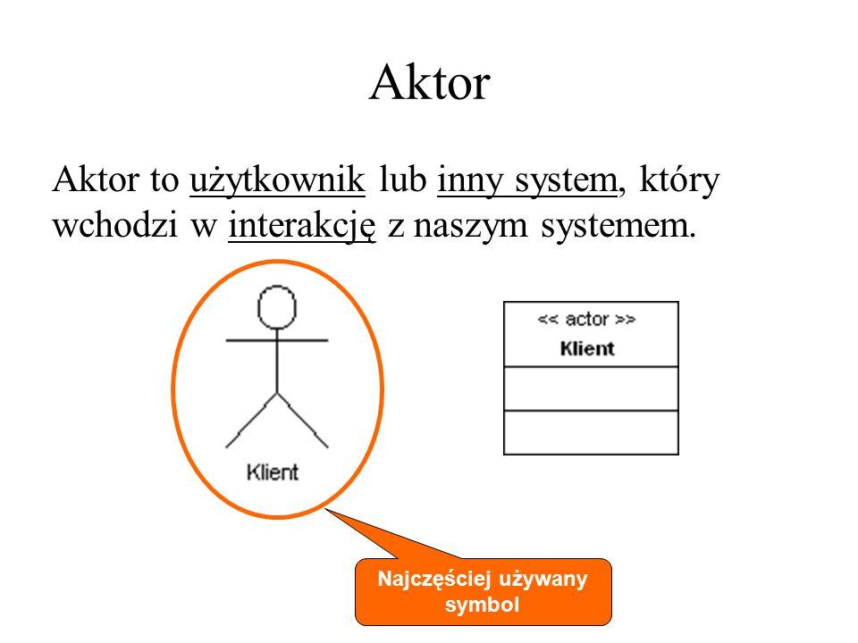 Aktor Aktorzy stanowią otoczenie systemu (nie są częścią systemu) Aktor może aktywnie wymieniać informacje z systemem (dostarczać informacje i pobierać) Aktor może wywoływać akcje w systemie Aktorami mogą być: człowiek urządzenie inny system