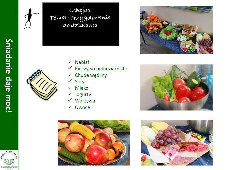 Lekcja 1 Temat: Przygotowania do działania Nabiał Pieczywo pełnoziarniste Chude wędliny Sery Mleko Jogurty Warzywa Owoce Śniadanie daje moc!