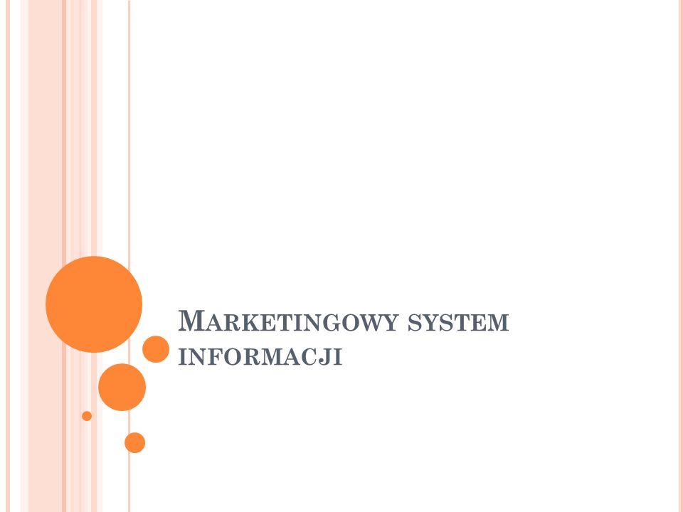 P LAN WYKŁADU 1.Pojęcie i rodzaje informacji marketingowej 2.