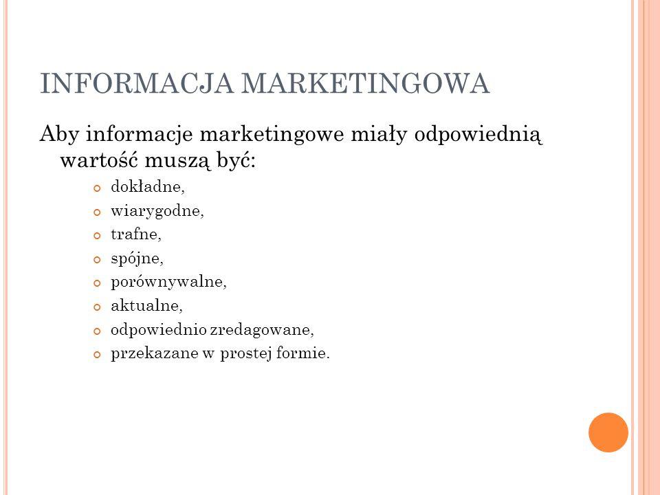 INFORMACJA MARKETINGOWA Aby informacje marketingowe miały odpowiednią wartość muszą być: dokładne, wiarygodne, trafne, spójne, porównywalne, aktualne,