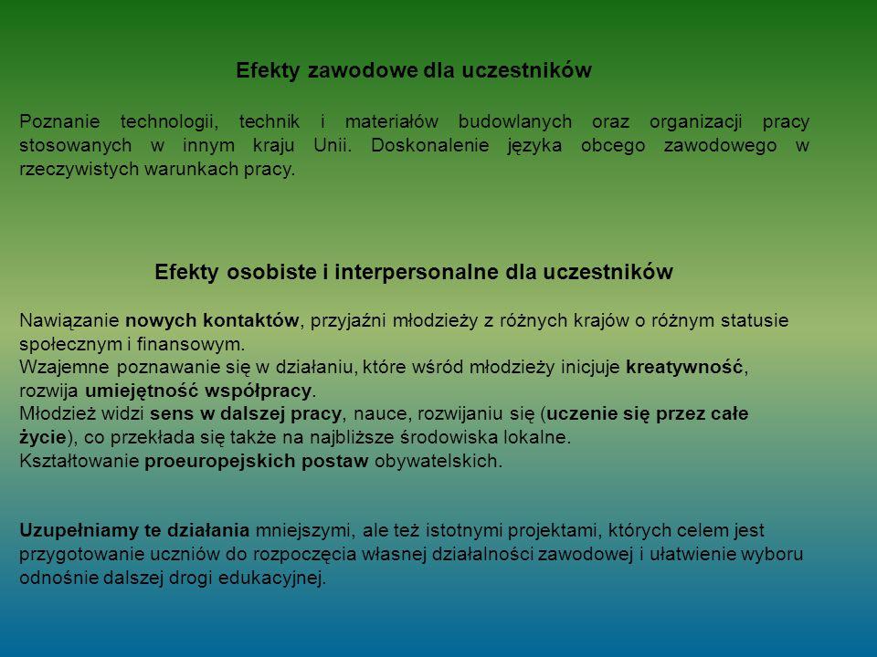 Efekty zawodowe dla uczestników Poznanie technologii, technik i materiałów budowlanych oraz organizacji pracy stosowanych w innym kraju Unii.