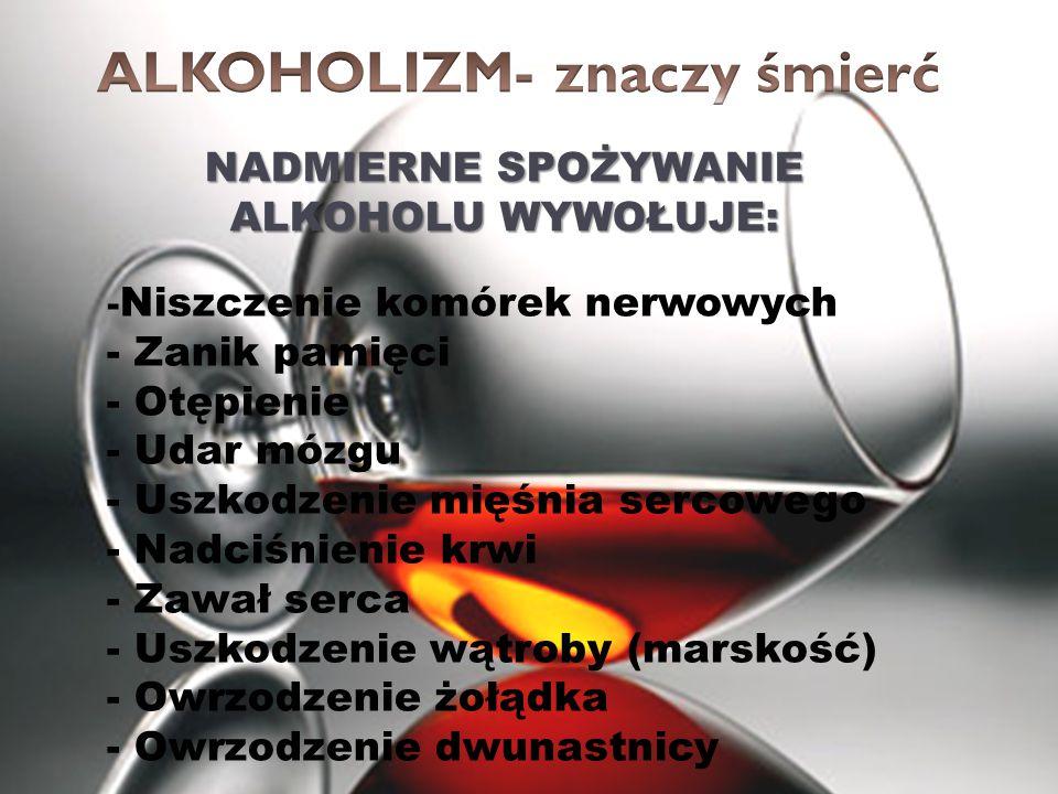 NADMIERNE SPOŻYWANIE ALKOHOLU WYWOŁUJE: - Niszczenie komórek nerwowych - Zanik pamięci - Otępienie - Udar mózgu - Uszkodzenie mięśnia sercowego - Nadc