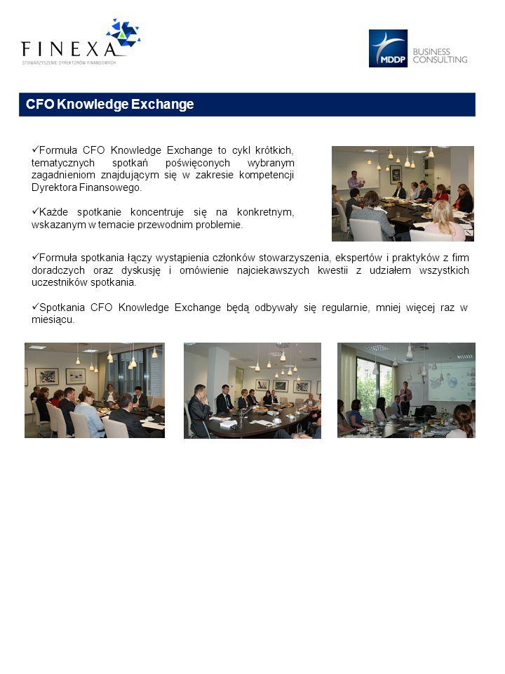 CFO Knowledge Exchange Formuła spotkania łączy wystąpienia członków stowarzyszenia, ekspertów i praktyków z firm doradczych oraz dyskusję i omówienie najciekawszych kwestii z udziałem wszystkich uczestników spotkania.