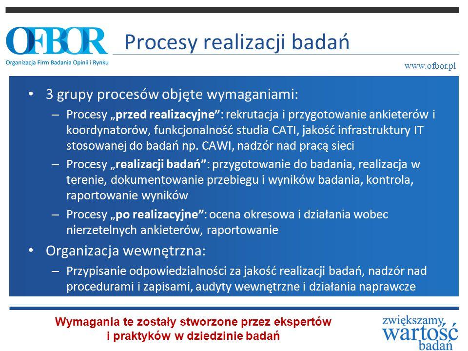 """Procesy realizacji badań 3 grupy procesów objęte wymaganiami: – Procesy """"przed realizacyjne : rekrutacja i przygotowanie ankieterów i koordynatorów, funkcjonalność studia CATI, jakość infrastruktury IT stosowanej do badań np."""