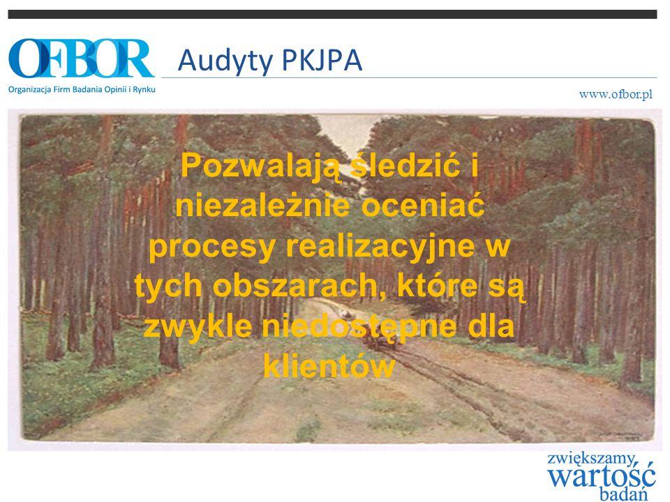 Audyty PKJPA www.ofbor.pl Pozwalają śledzić i niezależnie oceniać procesy realizacyjne w tych obszarach, które są zwykle niedostępne dla klientów