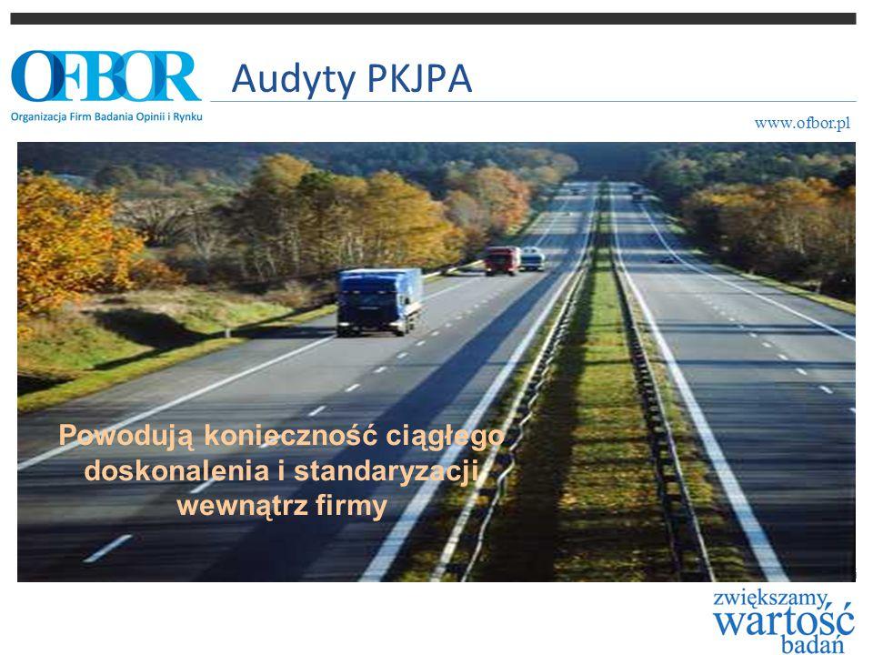 Audyty PKJPA www.ofbor.pl Powodują konieczność ciągłego doskonalenia i standaryzacji wewnątrz firmy