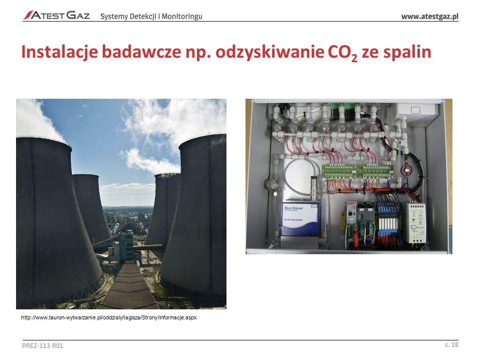 Instalacje badawcze np. odzyskiwanie CO 2 ze spalin PREZ-113 R01 s. 18 http://www.tauron-wytwarzanie.pl/oddzialy/lagisza/Strony/informacje.aspx