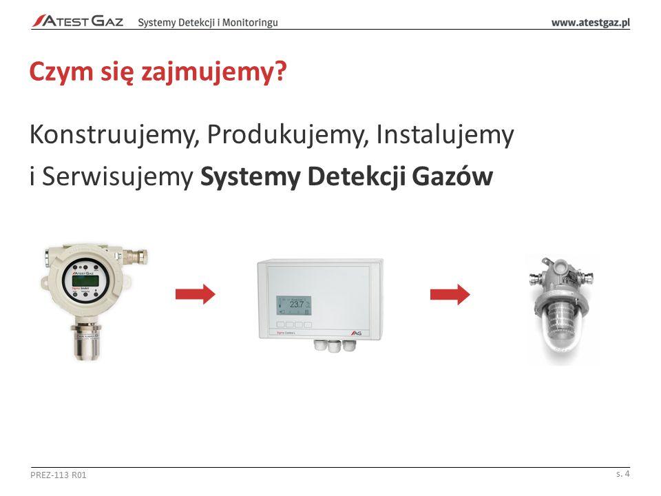 Czym się zajmujemy? Konstruujemy, Produkujemy, Instalujemy i Serwisujemy Systemy Detekcji Gazów PREZ-113 R01 s. 4