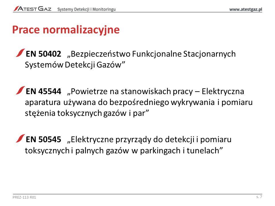 """Prace normalizacyjne EN 50402 """"Bezpieczeństwo Funkcjonalne Stacjonarnych Systemów Detekcji Gazów"""" EN 45544 """"Powietrze na stanowiskach pracy – Elektryc"""