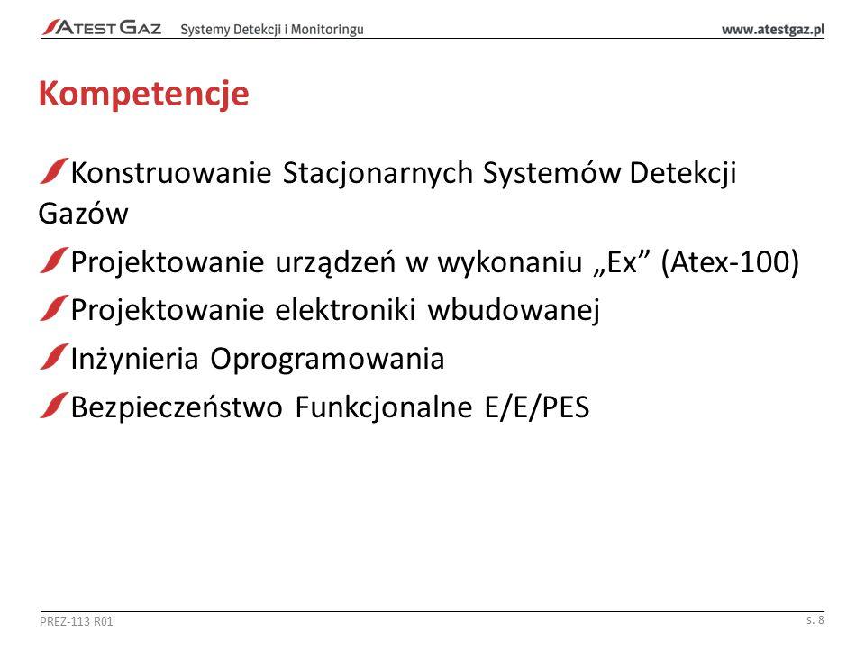 """Kompetencje Konstruowanie Stacjonarnych Systemów Detekcji Gazów Projektowanie urządzeń w wykonaniu """"Ex (Atex-100) Projektowanie elektroniki wbudowanej Inżynieria Oprogramowania Bezpieczeństwo Funkcjonalne E/E/PES PREZ-113 R01 s."""