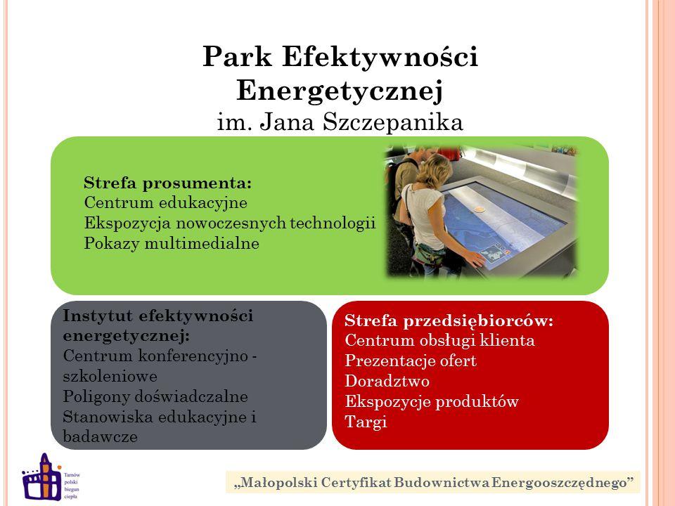 Strefa prosumenta: Centrum edukacyjne Ekspozycja nowoczesnych technologii Pokazy multimedialne Instytut efektywności energetycznej: Centrum konferencyjno - szkoleniowe Poligony doświadczalne Stanowiska edukacyjne i badawcze Park Efektywności Energetycznej im.
