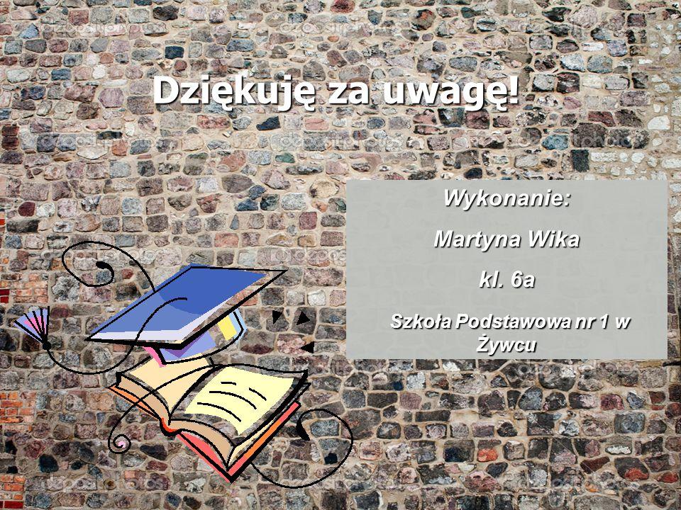 Dziękuję za uwagę! Wykonanie: Martyna Wika kl. 6a Szkoła Podstawowa nr 1 w Żywcu Szkoła Podstawowa nr 1 w Żywcu