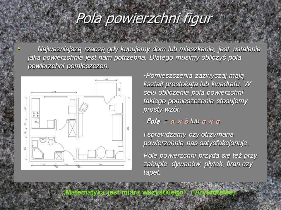 Pola powierzchni figur Najważniejszą rzeczą gdy kupujemy dom lub mieszkanie, jest ustalenie jaka powierzchnia jest nam potrzebna. Dlatego musimy oblic