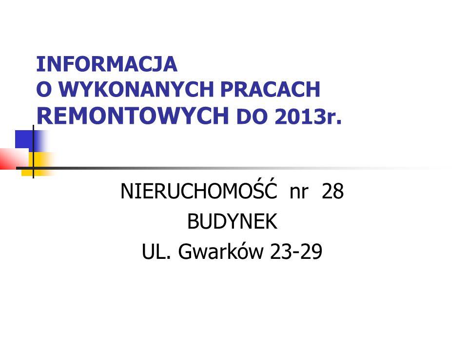 INFORMACJA O WYKONANYCH PRACACH REMONTOWYCH DO 2013r. NIERUCHOMOŚĆ nr 28 BUDYNEK UL. Gwarków 23-29