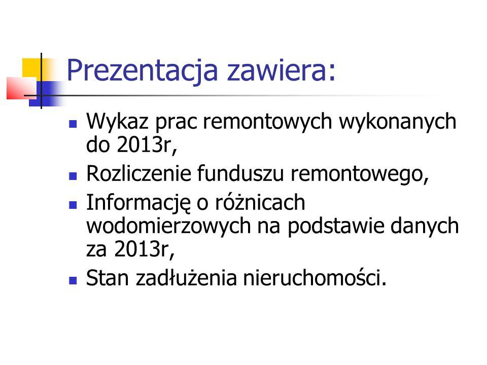 Prezentacja zawiera: Wykaz prac remontowych wykonanych do 2013r, Rozliczenie funduszu remontowego, Informację o różnicach wodomierzowych na podstawie danych za 2013r, Stan zadłużenia nieruchomości.