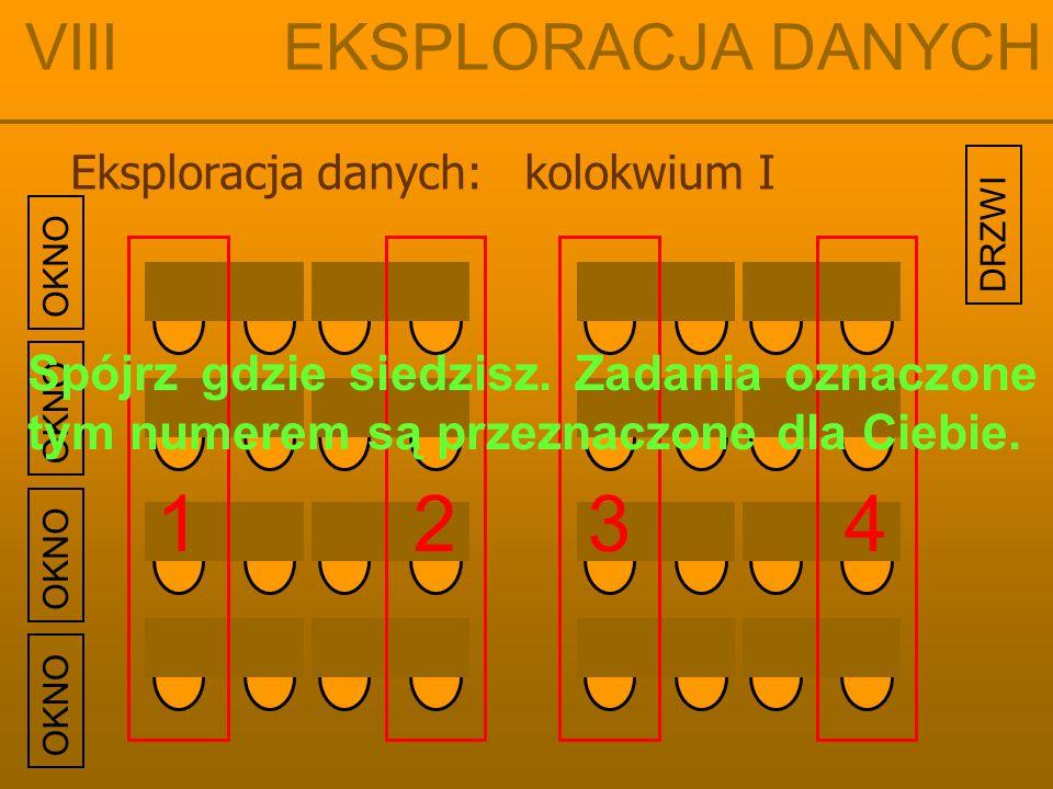 OKNO Eksploracja danych: kolokwium I VIII EKSPLORACJA DANYCH 1234 Spójrz gdzie siedzisz. Zadania oznaczone tym numerem są przeznaczone dla Ciebie. DRZ