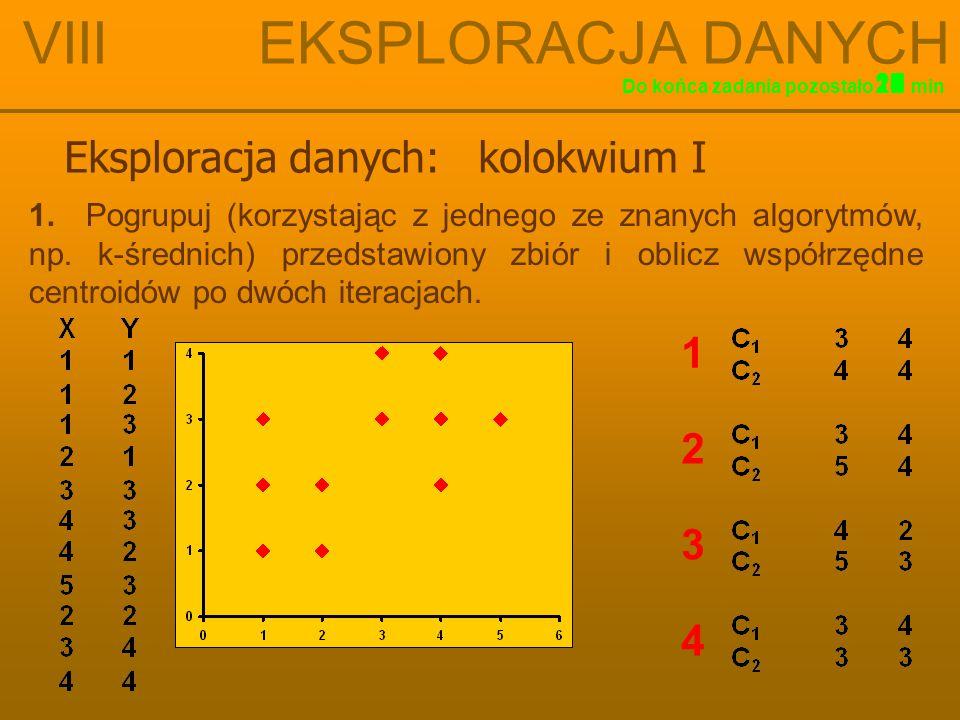 Eksploracja danych: kolokwium I VIII EKSPLORACJA DANYCH 16 Do końca zadania pozostałomin 15141312111098765432117181920 1. Pogrupuj (korzystając z jedn