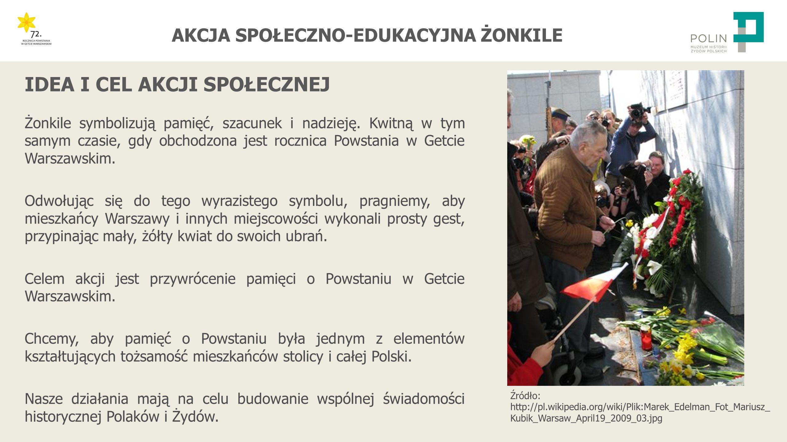 """AKCJA SPOŁECZNO-EDUKACYJNA ŻONKILE -Przygotowanie papierowych żonkili z szablonów -Przeprowadzenie lekcji """"Dymy nad gettem - Polacy wobec walki Żydów w getcie warszawskim -Rozdawanie żonkili w obszarze swojej szkoły -Rozdawanie żonkili w swojej miejscowości i przekazywanie informacji o rocznicy Powstania -Inne działania, których celem jest rozpowszechnianie wiedzy o Zagładzie, upamiętnienie wydarzeń związanych z Holokaustem oraz propagowanie postaw szacunku, otwartości i tolerancji PROPONOWANE DZIAŁANIA W RAMACH AKCJI"""
