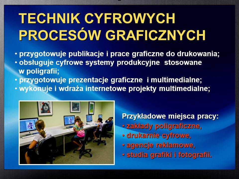przygotowuje publikacje i prace graficzne do drukowania; obsługuje cyfrowe systemy produkcyjne stosowane w poligrafii; przygotowuje prezentacje grafic