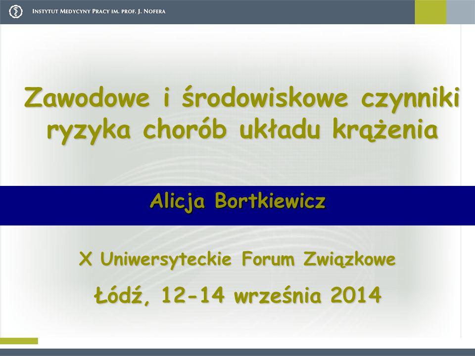 Zawodowe i środowiskowe czynniki ryzyka chorób układu krążenia Alicja Bortkiewicz X Uniwersyteckie Forum Związkowe Łódź, 12-14 września 2014