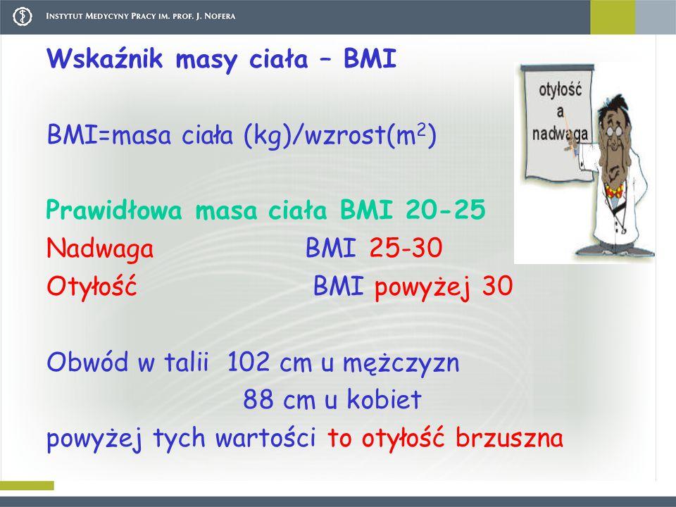 Wskaźnik masy ciała – BMI BMI=masa ciała (kg)/wzrost(m 2 ) Prawidłowa masa ciała BMI 20-25 Nadwaga BMI 25-30 Otyłość BMI powyżej 30 Obwód w talii 102 cm u mężczyzn 88 cm u kobiet powyżej tych wartości to otyłość brzuszna