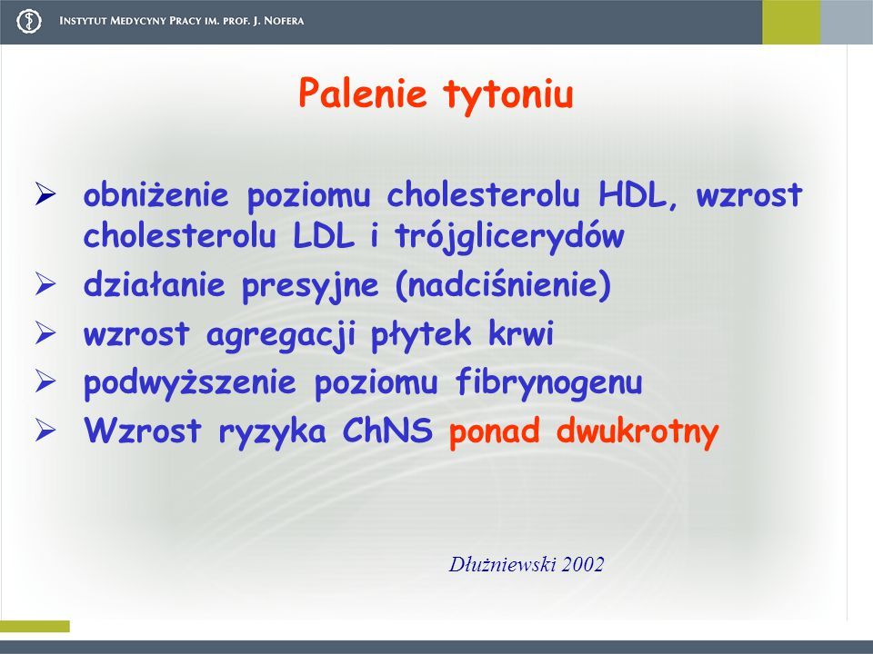 Palenie tytoniu  obniżenie poziomu cholesterolu HDL, wzrost cholesterolu LDL i trójglicerydów  działanie presyjne (nadciśnienie)  wzrost agregacji płytek krwi  podwyższenie poziomu fibrynogenu  Wzrost ryzyka ChNS ponad dwukrotny Dłużniewski 2002