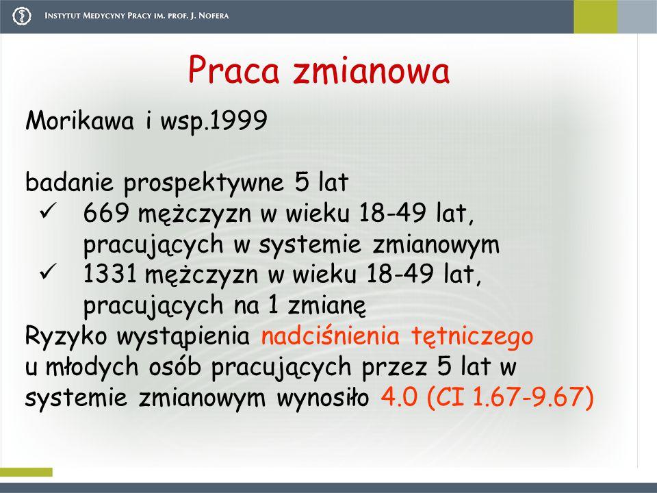 Praca zmianowa Morikawa i wsp.1999 badanie prospektywne 5 lat 669 mężczyzn w wieku 18-49 lat, pracujących w systemie zmianowym 1331 mężczyzn w wieku 1