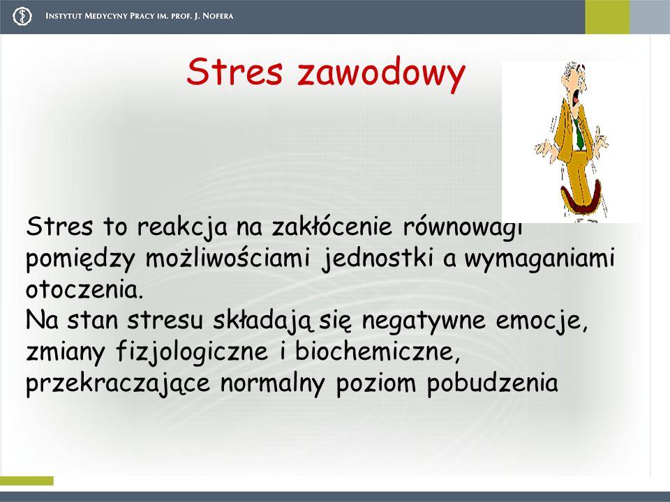 Stres zawodowy Stres to reakcja na zakłócenie równowagi pomiędzy możliwościami jednostki a wymaganiami otoczenia. Na stan stresu składają się negatywn