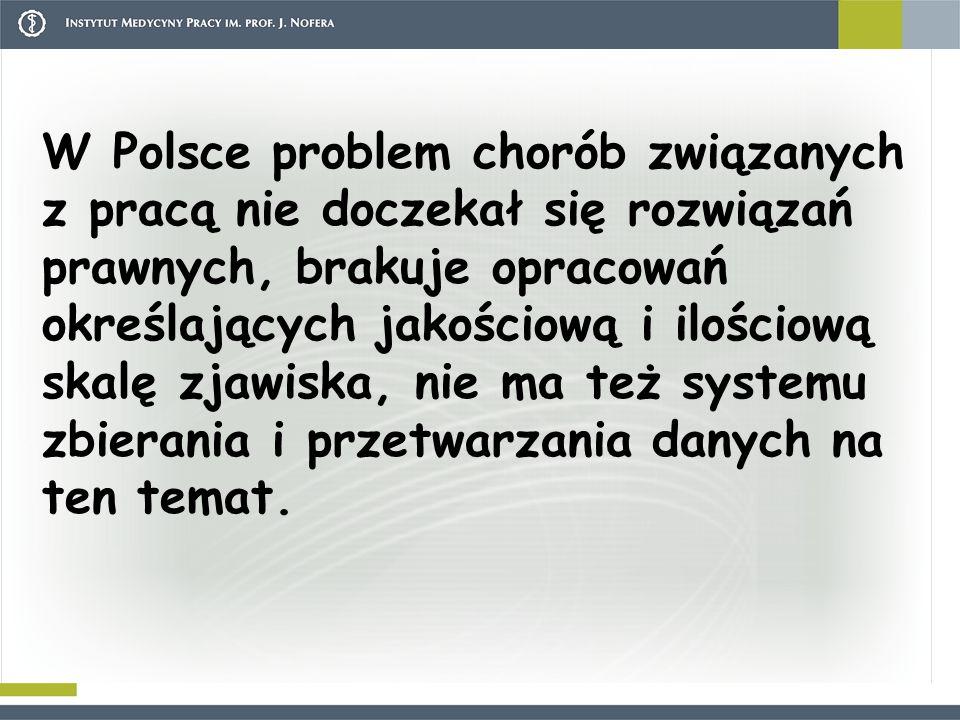 W Polsce problem chorób związanych z pracą nie doczekał się rozwiązań prawnych, brakuje opracowań określających jakościową i ilościową skalę zjawiska, nie ma też systemu zbierania i przetwarzania danych na ten temat.